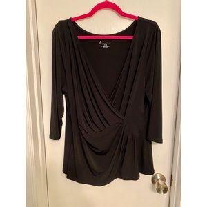 Faux wrap Black Shirt from Lane Bryant 14/16